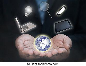 Business man technology world