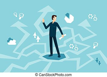 Business Man Think Strategy Arrow Background Flat Vector ...