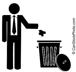 business man throwing garbage into a trash can - no littering