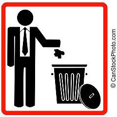 business man throwing garbage into trash
