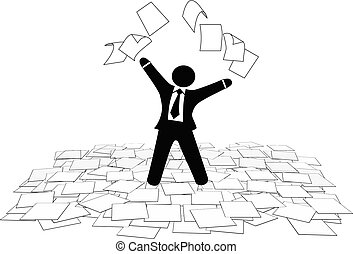 Business man throws paper work pages to air floor - A...