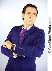Business man tired of waiting client