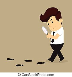 business man to investigate suspicious footprints