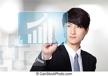 Business man touch all kinds of icon