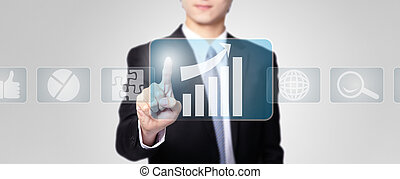 Business man touch all kinds of icon - Business man pressing...