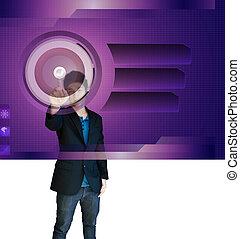 business man touch screen