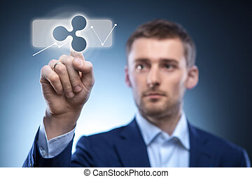 business man touches a ripple icon