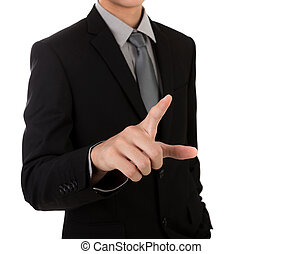 Business man touching an imaginary screen against white background