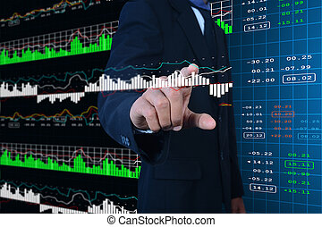 Business man touching the stock chart