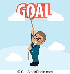 Business man trying to climbing goal