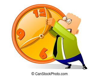 Businessman desperately trying to stop time isolated on white background.