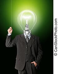 business man turn on hith bulb head