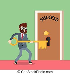 Business man unlocking success door
