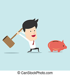 Business man use hammer try to break piggy bank