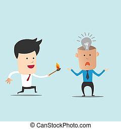 Business man use match to spark light bulb