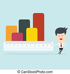 Business man use ruler measure
