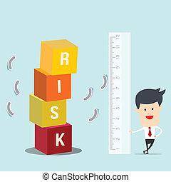 Business man use ruler measure risk block