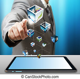 business man use tablet computer streaming images