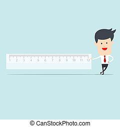 Business man user ruler measure