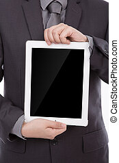 Business man using a touch screen device against
