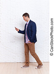 Business Man Using Cell Phone Smartphone Busy Walking Social Network Communication