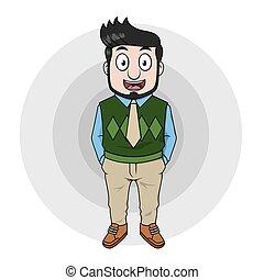 Business man using green cardigan