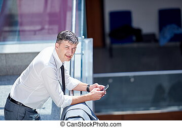 business man using phone