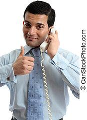 Business man using telephone success