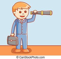 Business man using telescope
