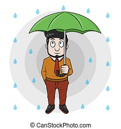 Business man using umbrella