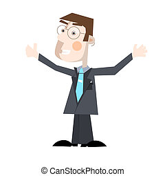 Business Man Vector Illustration Isolated on White Background