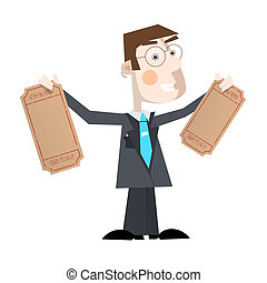 Business Man Vector Illustration With Empty Tickets