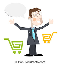 Business Man Vector Illustration With Shopping Carts and Empty Speech Bubble