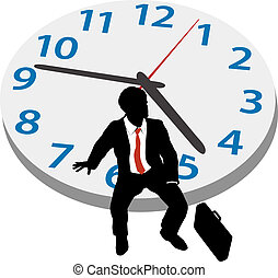 Business man wait appointment time clock - Business man sits...