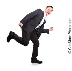 Business man walk and run and dance