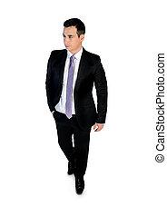 Business man walk looking side
