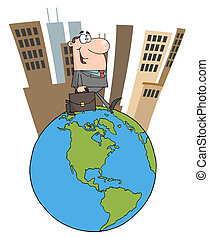 Business Man Walking Around Globe