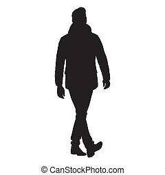 Business man walking forward in winter clothing, isolated vector silhouette