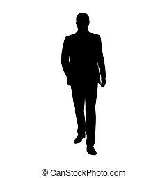 Business man walking forward, vector silhouette. Man in suit