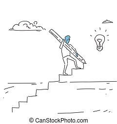 Business Man Walking On Stairs Up To Light Bulb New Idea For Startup Concept