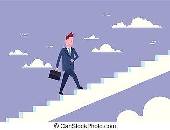 Business Man Walking Stairs Up Businessman Career Development Concept