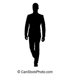 Business man walking, vector silhouette