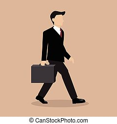 Business Man Walking with Briefcase. vector illustration