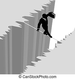 A business man takes a risky dangerous walk on a tightrope over a cliff drop off to safety.