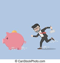 Business man want to destroy piggy bank