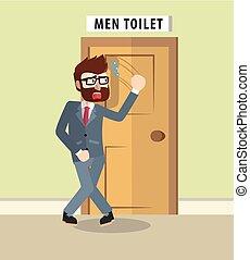 Business man want to go bathroom