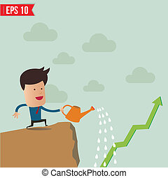 Business man watering graph