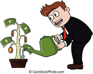Business man watering money plant