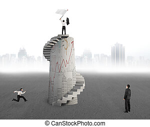 Business man waving flag on top of tower with doodles -...