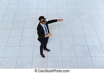 Business Man Wear Digital Glasses, Businessman Hold Hand Virtual Reality